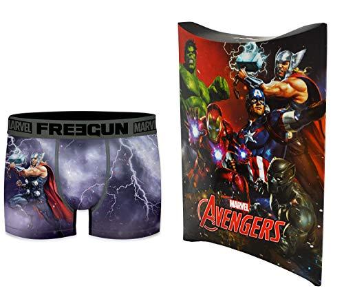 Marvel-Avengers Boxershorts mit Geschenkbeutel, offizielle Kollektion Freegun – Kinder Gr. 12-14 Jahre, mehrfarbig