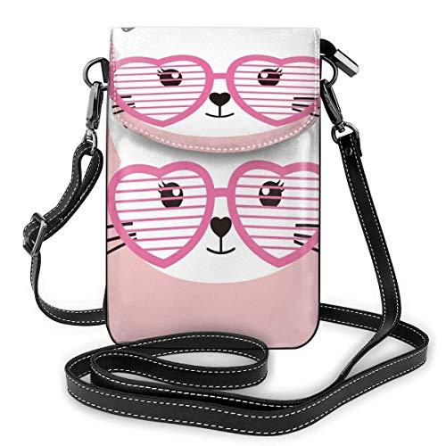 XCNGG Gafas de gato de dibujos animados, monedero para teléfono celular, bolso bandolera, bolsos de hombro, billetera para mujeres, niñas, viajes, bodas