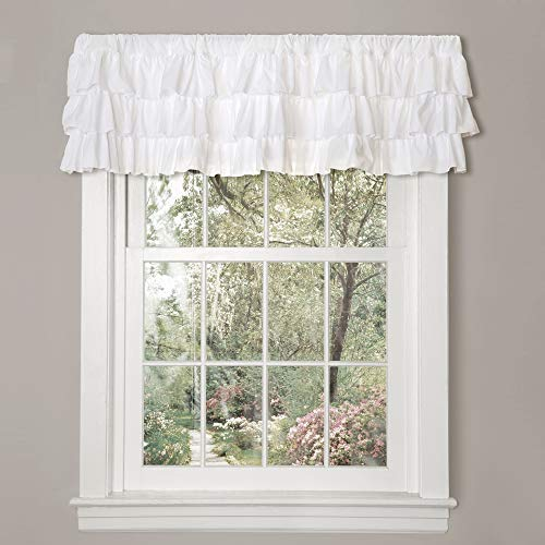 "Lush Decor, White Belle Valance Shabby Chic Style Single Curtain, 18"" x 84"