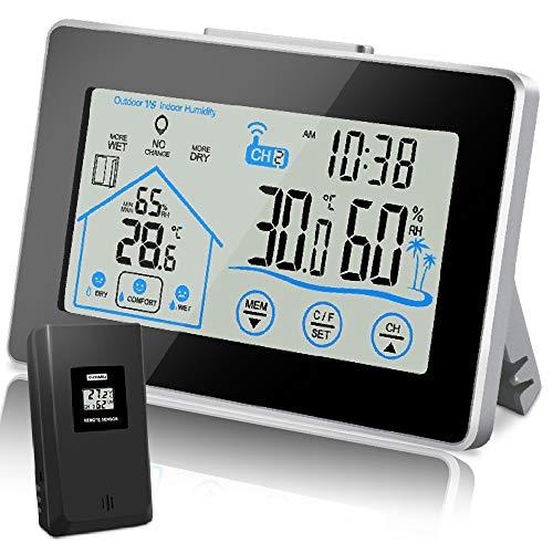 Wetterstation Funk mit Außensensor, Digitales Thermometer Hygrometer Innen Außen, Raumthermometer Feuchtigkeit mit Lüftungsempfehlung Wettervorhersage, Uhrzeit Anzeige und Niedrigbatteriestandsanzeige