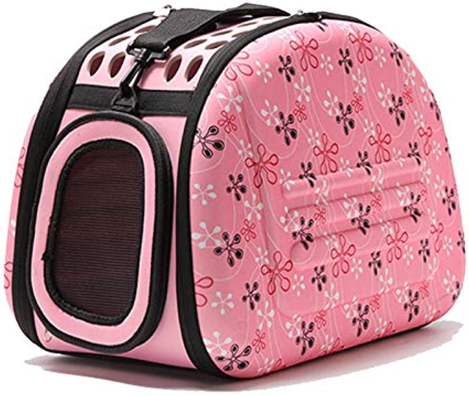 LZRZBH CrossBody Pet Bag Foldable Pet Cat Dog Carrier Cage Collapsible Travel Kennel  Portable Pet Carrier Outdoor Shoulder Bag for Small Animal Puppy Kitty (color   Pink)