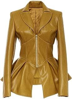DISSA P885 Women Faux Leather Long Coat Slim Coat Leather Jacket