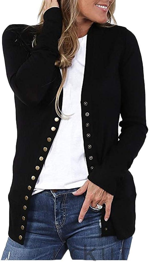 RUEWEY Women Cotton Knitted Long Sleeve Open Front Cardigan Sweater Button Down Outwear Coat