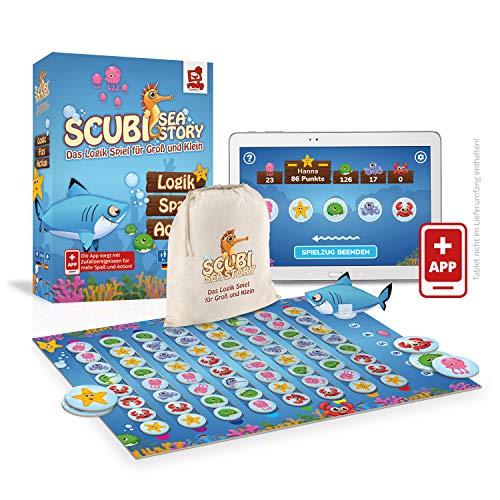 Rudy Games Scubi Sea Story – Interaktives Lernspiel mit App – Spannendes Logikspiel mit zahlreichen Spielvarianten für Kinder, die ganze Familie und Freunde – Ab 6 Jahren – Für 2-5 Spieler