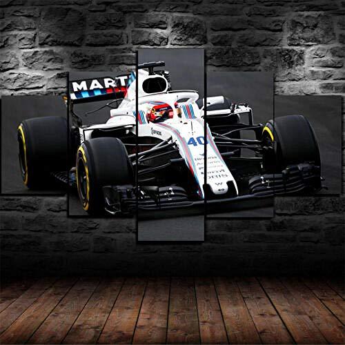 72Tdfc- -Impresiones sobre Lienzo - Enmarcado Robert Kubica F1 Williams 5 Piezas Lienzo Impresión Arte De La Pared Decoración del Hogar