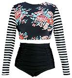 COCOSHIP Red Pink Floral & Black White Stripe Swimwear Splice Long Sleeve Swim Shirt Rash Guard Top Tankinis High Waist Swimsuit 14