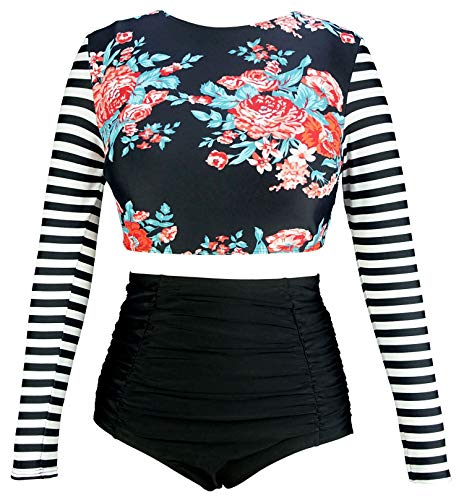 COCOSHIP Red Pink Floral & Black White Stripe Swimwear Splice Long Sleeve Swim Shirt Rash Guard Top Tankinis High Waist Swimsuit 4