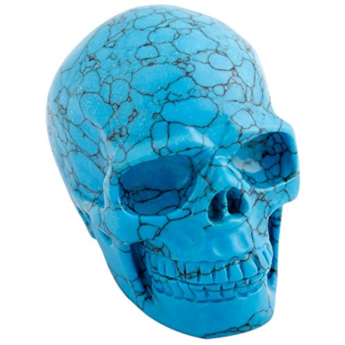 mookaitedecor 3 Inch Blue Howlite Turquoise Crystal Skull Sculpture Carved Statue Healing Reiki Gemstone Collectible Figurines