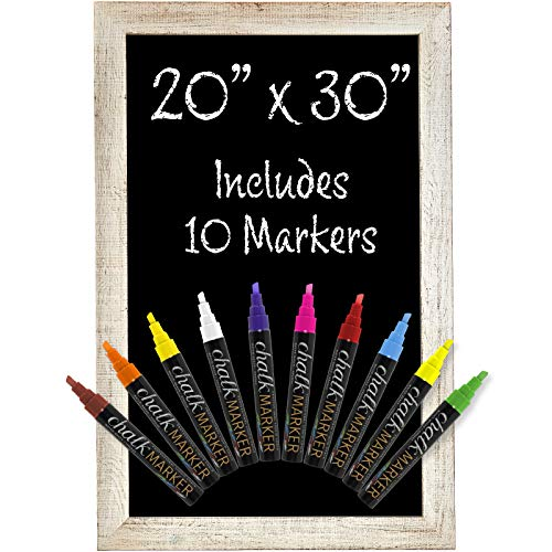 Rustic White Magnetic Wall Chalkboard Sign: Includes 10 Liquid Chalk Markers 20'x30' Wooden Hanging Chalk Sign for Kitchen Wall Decor, Restaurant Menu Board and Wedding Sign / Hangs in Both Directions