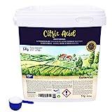 NortemBio Ácido Cítrico 5 Kg, Polvo Anhidro, Natural, 100% Puro, para producción ecológica. Producto CE.
