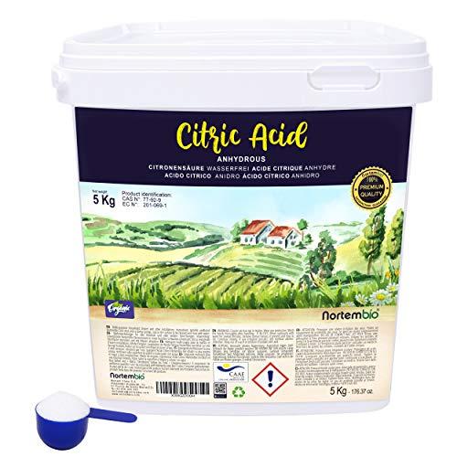 Nortembio Acide Citrique 5 Kg. Poudre Anhydre, 100% Pure. pour la Production Biologique. E-Book Inclus.