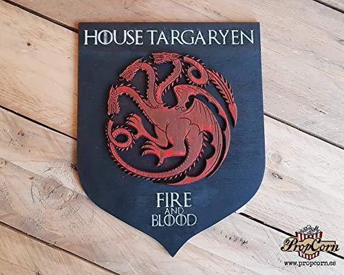Casa Targaryen, escudo de Juego de Tronos. Fuego y Sangre, Sangre de Dragón, Madre de dragones, Drogon, Viserion y Rhaegal, Dracarys