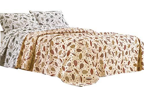R.P. Sprei Leaves And Pois - 100% katoen - bed Frans type Ikea - Oranje