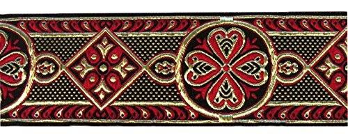 10m Mittelalter Borte Webband 50mm breit Farbe: Rot-Gold von 1A-Kurzwaren 50004-rtgo