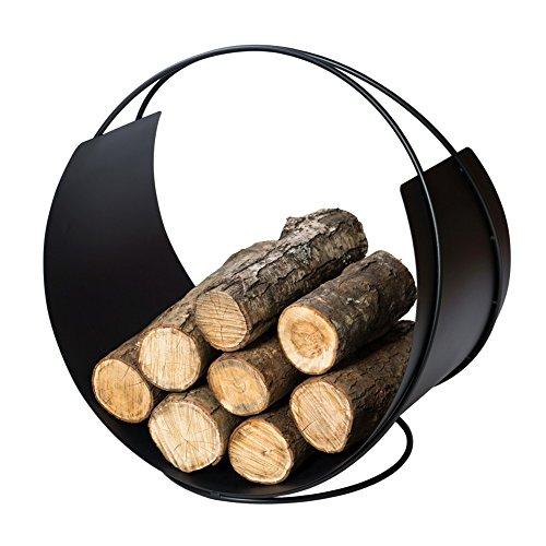 VASNER Situro S1 Holzkorb, 58 x 58 x 38 cm, schwarz Metall Kaminholzkorb, rund modern, Brennholz Aufbewahrung, Brennholzkorb, Holz Korb Feuerholzkorb