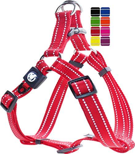 DDOXX Hundegeschirr Nylon, Step-In, Reflektierend, Verstellbar, Ausbruchsicher | für kleine & große Hunde | Brust-Geschirr Hund Katze Welpe Auto | Welpen-Geschirr Katzen-Geschirr | Rot, XS