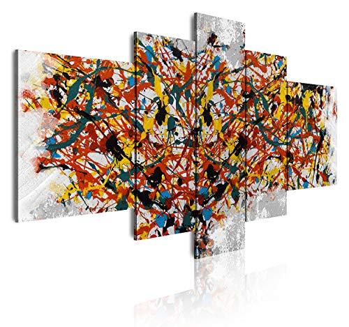 DekoArte 506 - Cuadros Modernos Impresión de Imagen Artística Digitalizada | Lienzo Decorativo Para Tu Salón o Dormitorio | Estilo Abstractos Moderno Arte Pollock | 5 Piezas 180 x 85 cm XXL