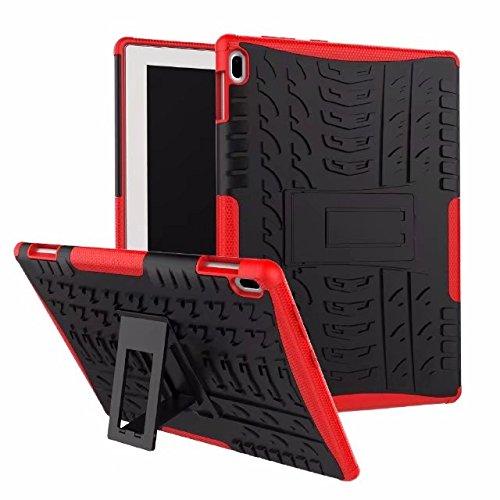 Haiqing Hyun Pattern - Carcasa híbrida de doble capa con función atril 2 en 1, a prueba de golpes, compatible con Lenovo Tab4 10 pulgadas TB-X304F (color: rojo)