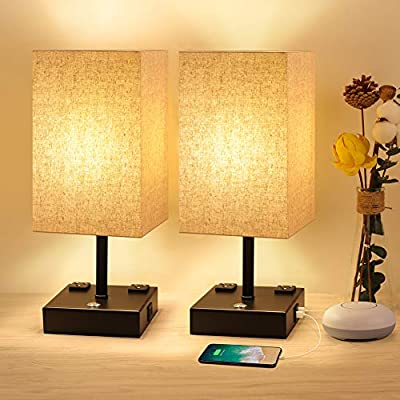 USB Table Lamp 3 Way Dimmable Bedside Lamp with USB Port and Outlet Nightstand Lamps Square Fabric Shade Metal Base Table Lamps for Bedrooms Living Room Touch Lamps for Bedrooms 2 Pack Bedroom Lights