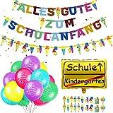 Humairc Einschulung Schulanfang Deko Alles Gute zum Schulanfang Girlande Schultüte Banner Luftballon Folienballon Konfetti Einschulungsfeier Dekoration
