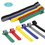 Bridas Velcro, Jolintek 90 Pcs Organizador Cables Bridas Reutilizables, Cable Correas Set, Multicolor Sujeta Cables Ajustable Organizador de Cables para Cables en Hogar y Oficina, 6 Colores, 3 Tamaños
