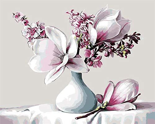 DIOPN Lelie bloemen in witte vaas blauwe olie Schilderij foto Door cijfers Tekenen kleuren door cijfers DIY tekening woonkamer decoratie(frameless 40 * 50 cm)