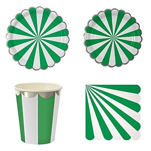 GUOYIHUA Assiettes en Papier jetables Serviettes Plateaux à Dessert Tasses Vittate Vaisselle pour Pique-Nique, fête jetable, Vert foncé, Shown