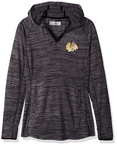 NHL Chicago Blackhawks Damen Kapuzenpullover Lexi Core Logo PWT mittellagiger Pullover, Größe M, Grau meliert