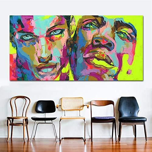 yhyxll Francoise Nielly Leinwand Gemälde Bunte Moderne abstrakte Porträt Ölgemälde Wandkunst Drucke für Wohnzimmer 70X140CM