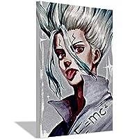 Dr.Stoneアニメキャンバス絵画アートポスターホームウォールデコレーション絵画アニメファンベッドルームリビングルームスタジオデコレーションポスター40x60cm(16x24inch)フレームなしポスターD