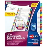 Avery 31-tab Dividers for 3 Ring Binders, Customizable Table of Contents,...