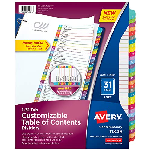Avery 31-tab Dividers for 3 Ring Binders, Customizable Table of Contents, Multicolor Tabs, 1 Set (11846)