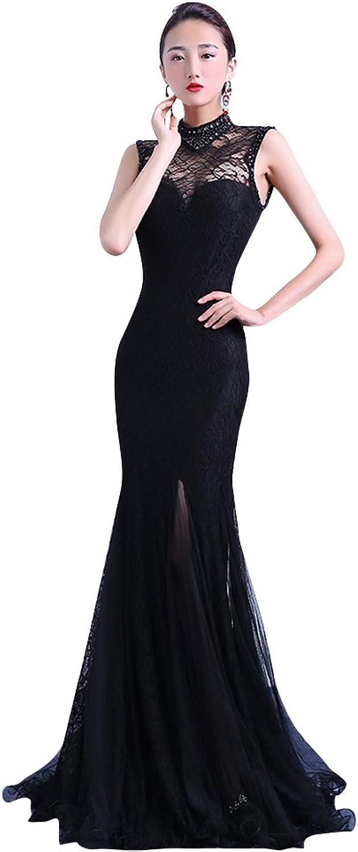 BeautyEmily OpenSide Lace Backless High Neck Mermaid Cheongsam Dress