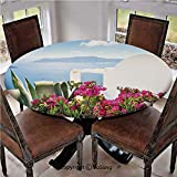 """Elastic Edged Polyester Fitted Table Cover,Vibrant Flowers in Garden with Sea View Sky Santorini Island Greece Vacation,Fits up 40""""-44"""" Diameter Tables,The Ultimate Protection for Your Table,Multicolo"""