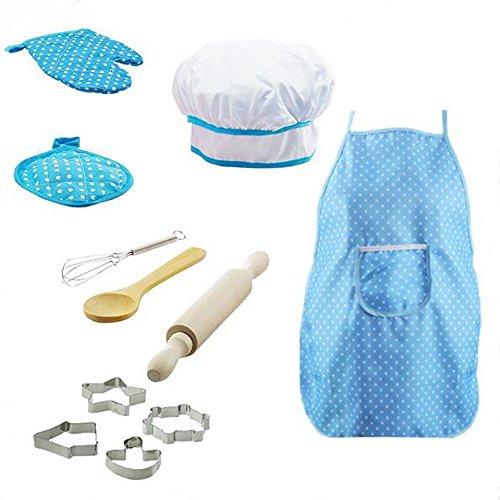 yeesn Juego de juegos de cocina para nios, juego de rol con delantal de cocina, sombrero de chef  11 unidades en juego (azul)
