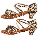 Keenso Zapatos Latinos de tacón Alto de 4 cm Buena transpirabilidad Zapatos de Baile para Mujer Niña(34-Estampado de Leopardo)
