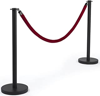 Displays2go, Black Stanchions with Red Rope, Steel, Velvet – Black, Red (RPSTFBCRED)