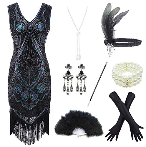 FUNDAISY Women 1920s V Neck Sequin Gatsby Flapper Fringed Dress with 20s Accessories Set Large Black