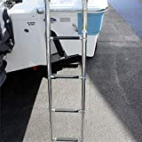 4 Step Ladder Stainless Steel Telescoping Extendable Ladder 600 Pound Capacity for Marine Yacht/Swimming Pool