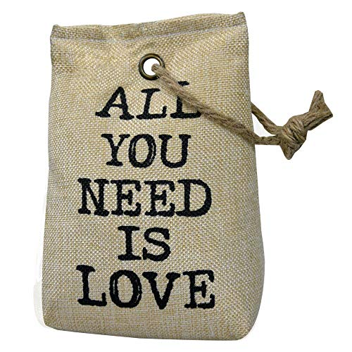 Hogar y Mas Sujetapuertas Decorativo Beige Textil, Frase Motivadora 1,3 kg. Forma de Saco con Cuerda de Sisal para Puertas 17x7x12 cm