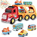 Toys for 1 2 3 4 5 6 Year Old Boys, Kids Toys Car for Girls Boys Toddlers 5 in 1 Friction Power Toys Vehicle Carrier Truck for Age 3-9 Boys Toys Car Party Christmas Festival Gifts for Boys Age 3 4 5 6