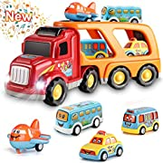 #LightningDeal Toddler Toys Car for Boys: Kids Toys for 1 2 3 4 5 6 Year Old Boys | Boy Toys 5 in 1 Carrier Toy Trucks | Toddler Toys Age 2-4 Baby Toys 12-18 Months Christmas Birthday Kids Gift Toddler Toys Age 1-2