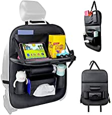 Car Backseat Organizer with Tablet Holder,Car Storage Organizer with Foldable Table Tray Car Seat Back Protectors Kick Mats Travel Accessories