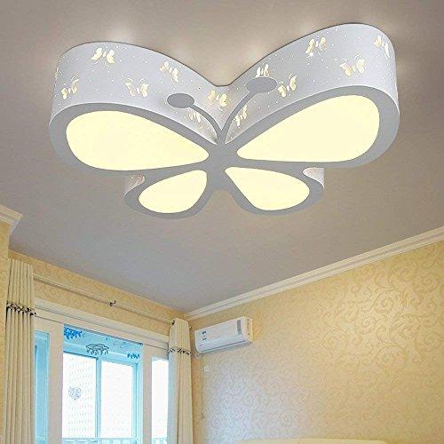 Henley - Moderna lámpara LED de techo para niños, diseño de mariposa, para dormitorio o salón, 50 x 40 x 10 cm (blanco, luz blanca de 6500 K)