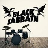 fancjj Extraíble Sabbath Negro OZZY Osbourne Vinilo Etiqueta de La Pared Dormitorio Sala de Estar Habitación Decoración para el hogar Música Arte de la Pared de Papel 140X57CM