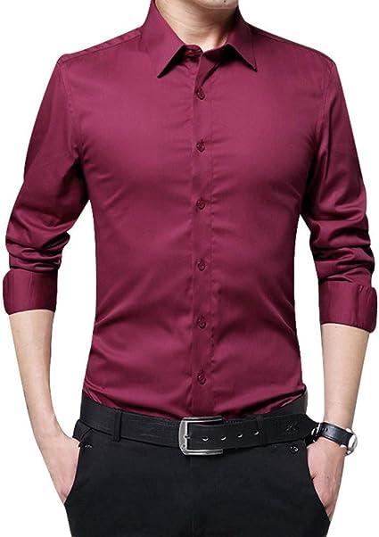 ECOSWAY Hombre Manga Larga Camisas Ajustado Sólido Negocios ...