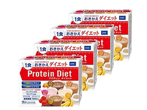 DHC プロティンダイエット 1箱15袋入 4箱セット 1食169kcal以下&栄養バッチリ! リニューアル
