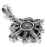 JewelryWe Schmuck Herren Halskette mit Klassische Retro Kreuz Kompass Anhänger; Gewichtheben,...