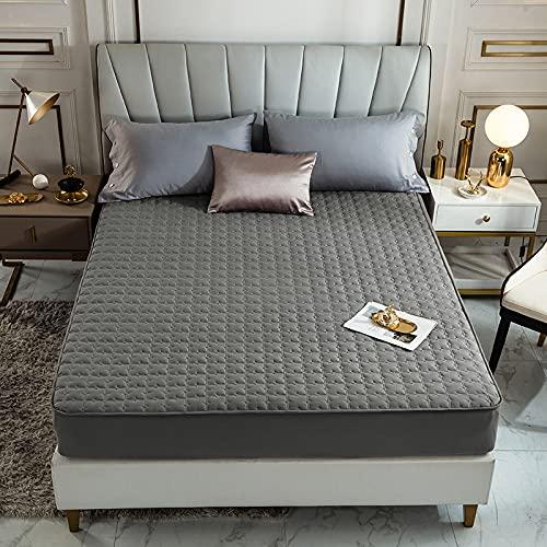 BOLO Funda de colchón acolchada impermeable con sábana elástica de gran tamaño (no incluye funda de almohada), falda extra profunda   funda de cama estilo sábana bajera ajustable, 90 x 200 + 12 cm
