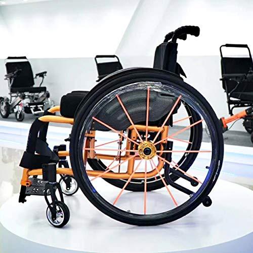 Premium Sport Rollstuhl Mit Klapppedalen Und GroßEn RäDern FüR Extra Comfort, Schwarz, Aluminiumrahmen, Pink/Orange/Blau